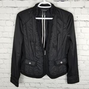 WHBM | black partial zip ruffle detail blazer